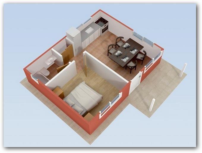 Plano de casa de un dormitorio dptos 1 dormitorio en for Diseno de apartamento de una habitacion