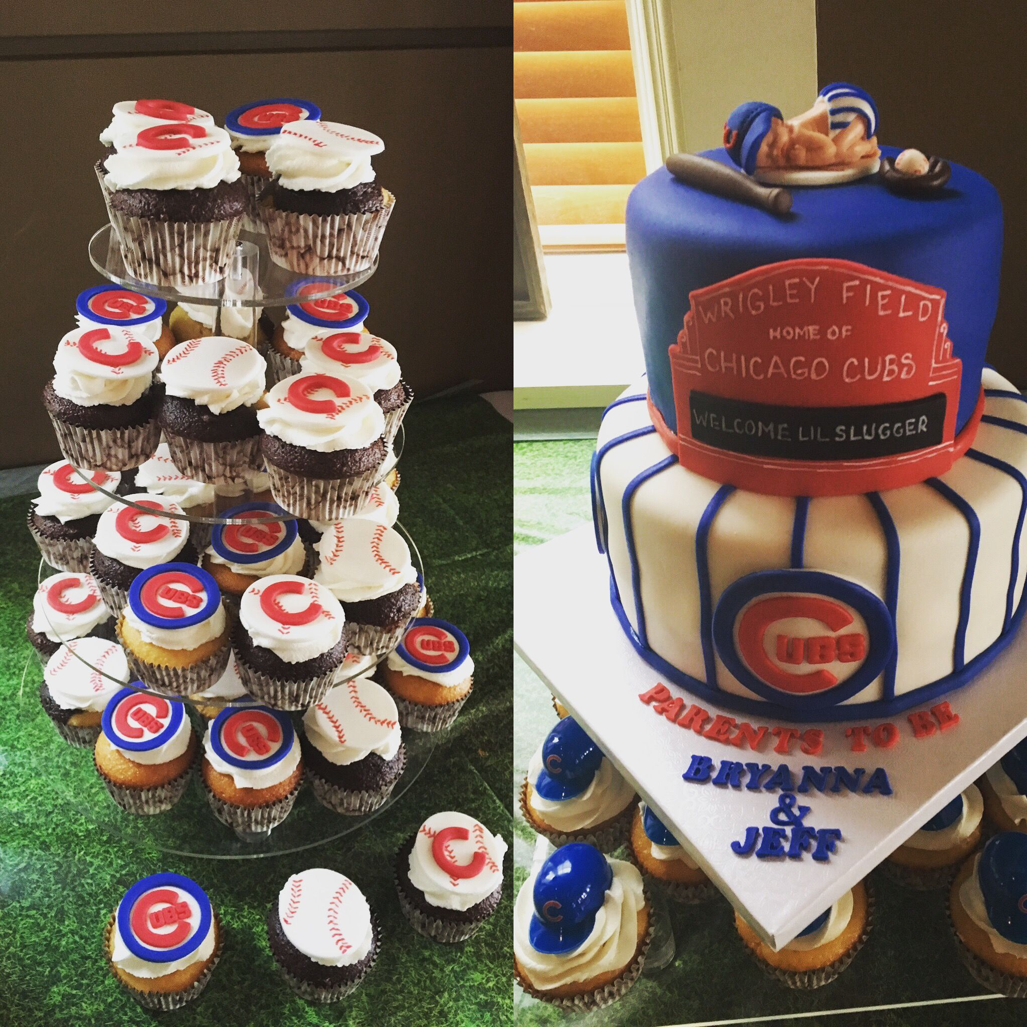 Chicago Cubs Baby Shower Cake And Cupcakes Baby Shower Pinterest