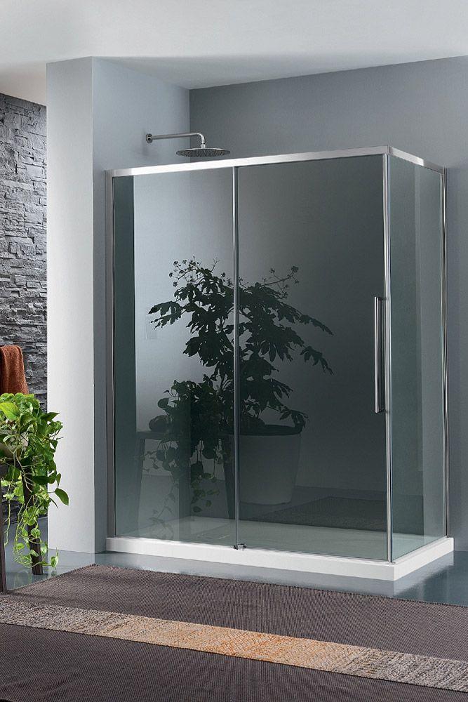 Box doccia trendy design per installazione ad angolo nel formato rettangolare composto da due - Box doccia pentagonale ...