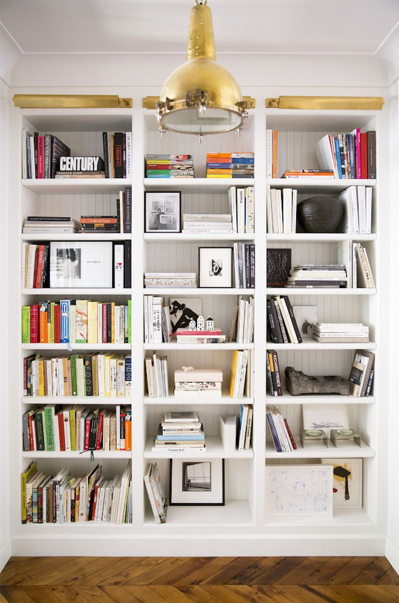 Breadboard wallpaper in back of bookcases home interior