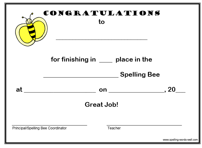 Free Spelling Bee Certificates Different Clip Arts Pinterest
