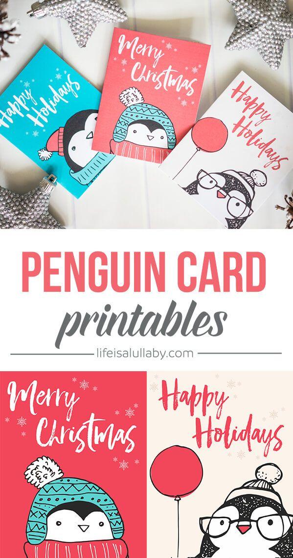 Free Penguin Christmas Card Printables   Christmas templates and ...
