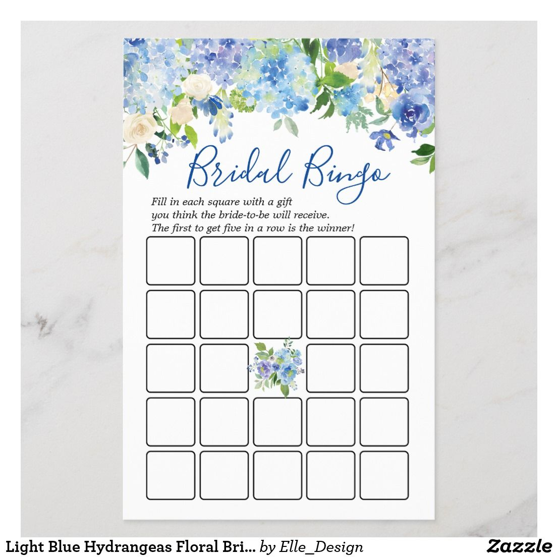 Light Blue Hydrangeas Floral Bridal Shower Game   Zazzle ...