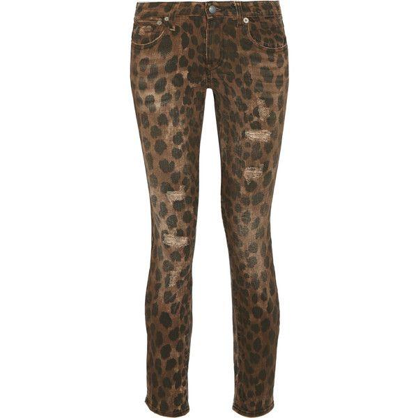 Kate Distressed Leopard-print Low-rise Skinny Jeans - Leopard print R13 iIk2kPsH