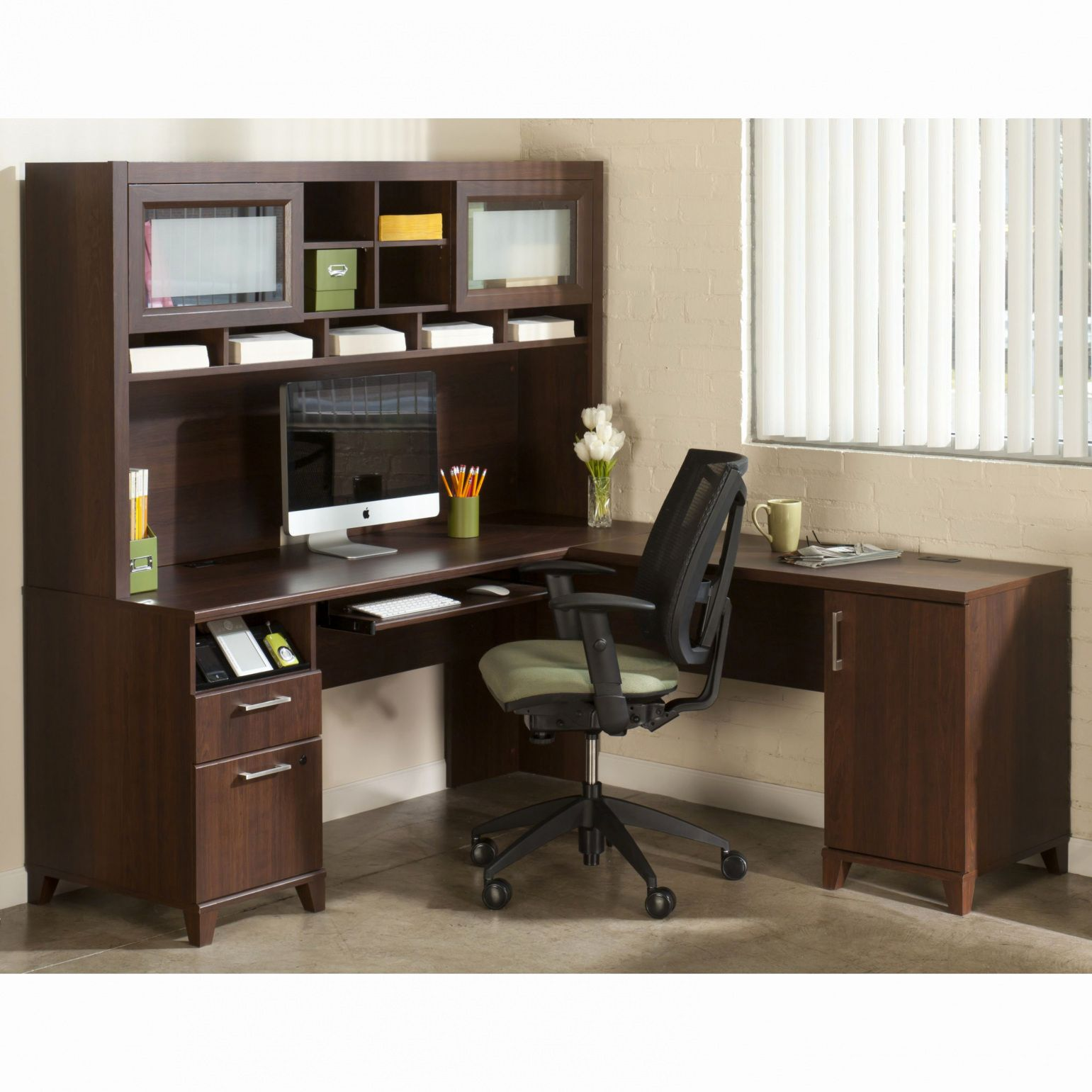 55+ Baraga White Home Office L Desk with Frosted Glass top