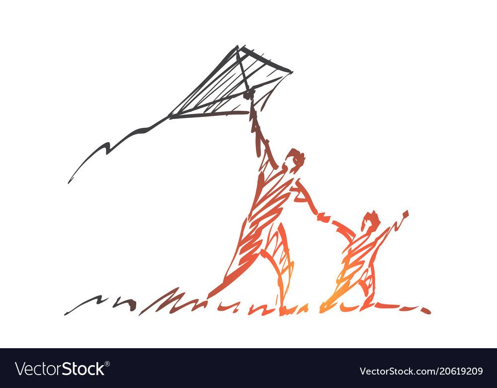 Hand Drawn Dad And Son Flying Kite Vector Image On With Images