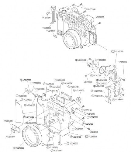 Olympus C5060 Digital Camera Front Exploded View
