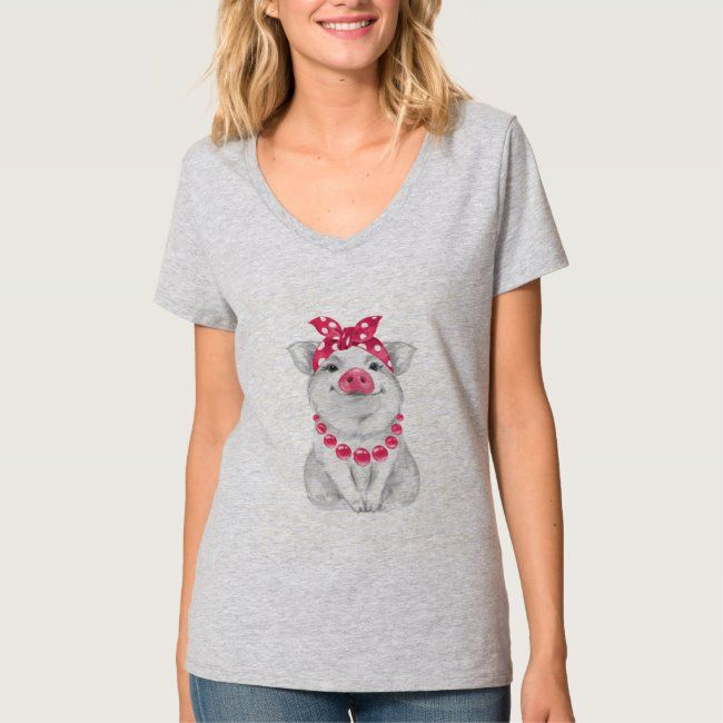Pig wearing bandana T-Shirt #animal #bandana #funny #illustration #kawaii #TShirt