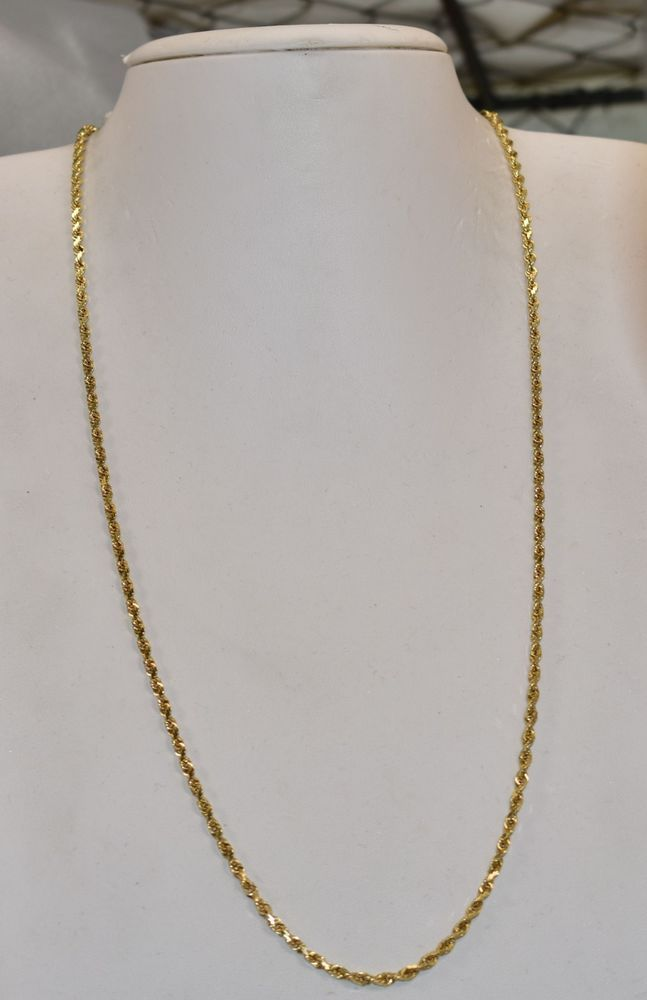 61d1b8f9af7e2 14 K Yellow Gold 2 mm Solid Sparkle Rope Chain 23 inch 14.1 grams ...