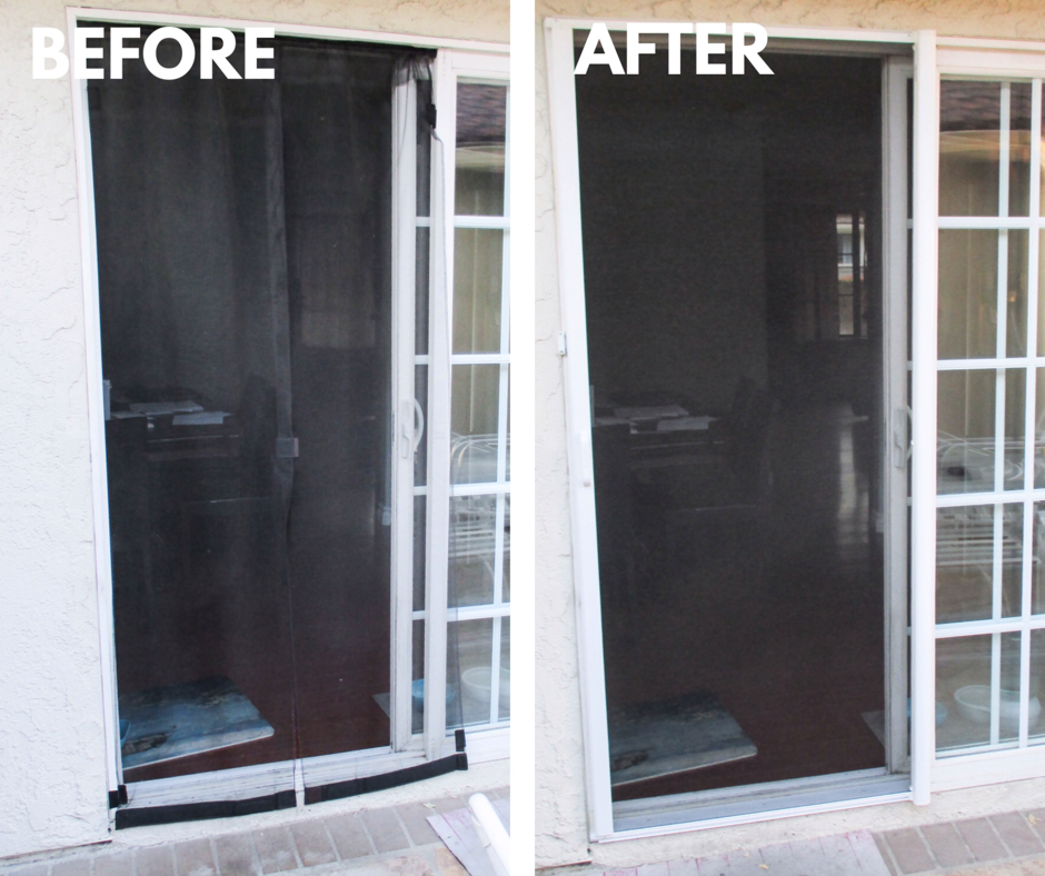 We Recently Removed A Magnetic Screen System From A Sliding Door