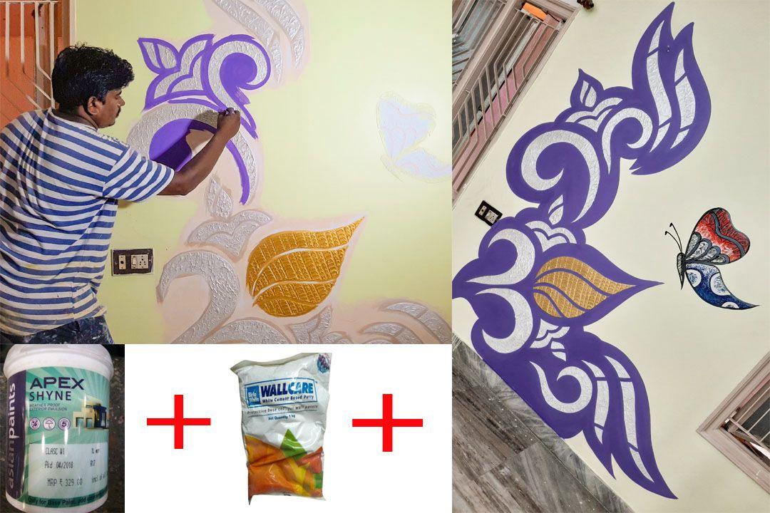Wall Putty New Texture Design Kalanjali Art On Wall Simple Wall Art Creative Wall Painting Wall Art Painting
