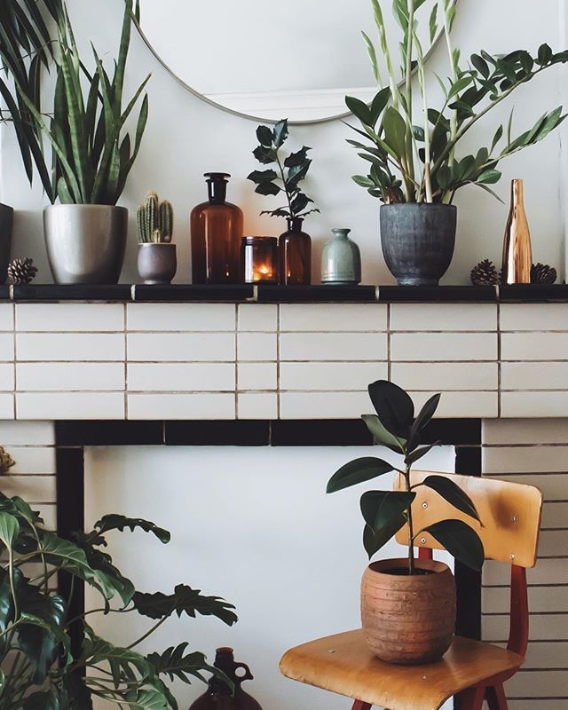 Kitchen Window Furnishings: Plants On The Mantle. Plus, I Love That Tile Treatment