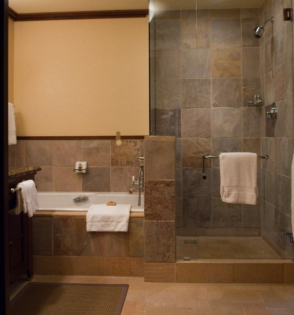 Rustic walk in shower designs doorless shower designs for Bathroom ideas with tub