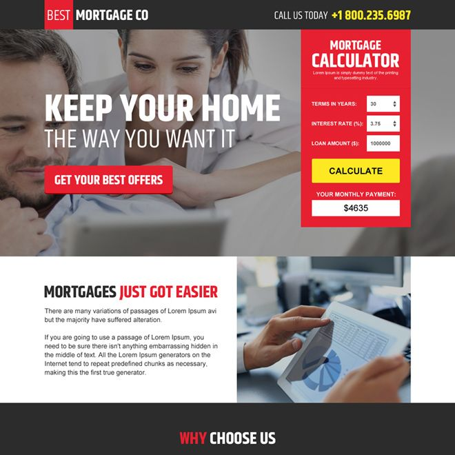 modern mortgage landing page design with mortgage calculator - mortgage calculator template