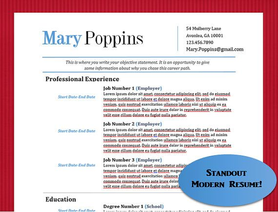 Mary Poppins Complete Resume Template Package  Resume  Cover