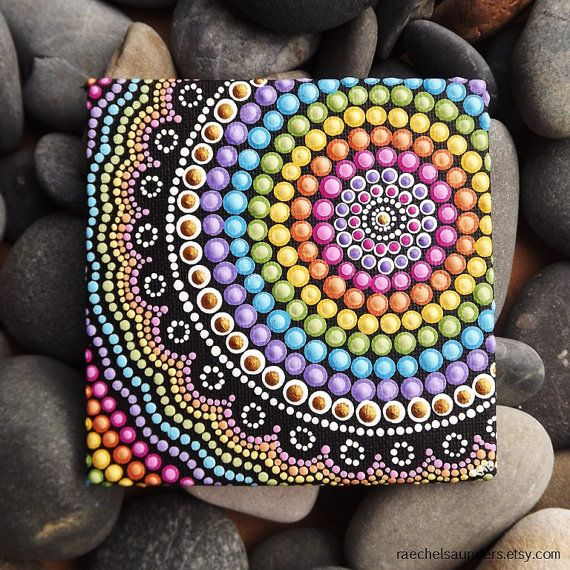 Rainbow Aboriginal Dot Art Painting By Biripi Artist