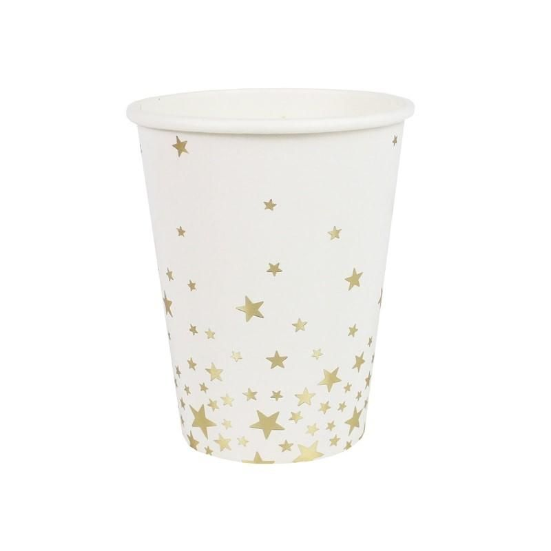 Shimmering Stars Cups Gold 8 Pack Foil Paper Party Cups Gold Stars