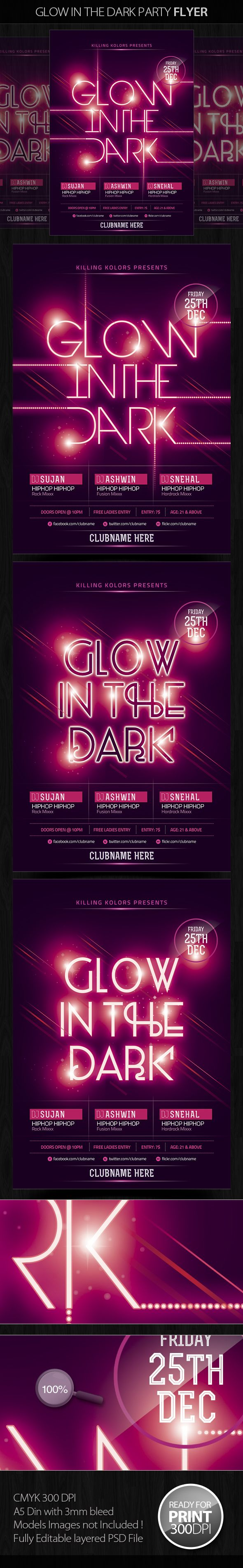 Glow in the Dark Party Flyer by Mahantesh Nagashetty, via Behance