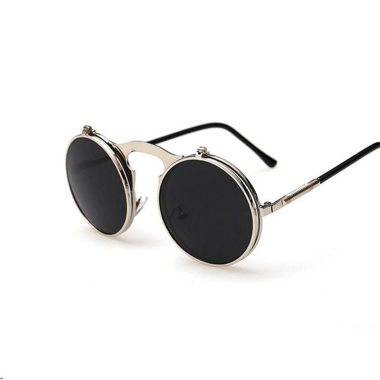 8e102d2d613 Designer Flip-Up Round Double Lens Steampunk Sunglasses
