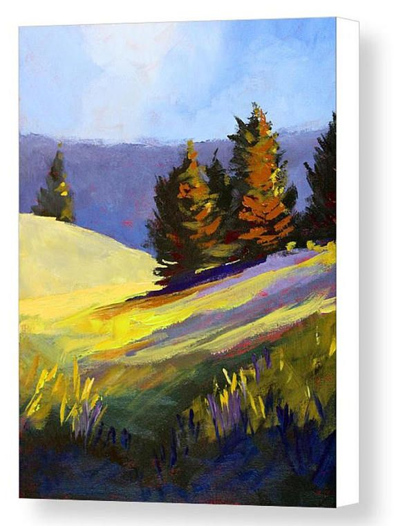 00f04af5d Landscape Painting, Mountain Field, Evergreen Trees, Original, 11x14 Canvas