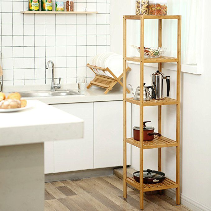 Songmics 5 Tier Bamboo Bathroom Shelf Storage Rack Shelving Unit