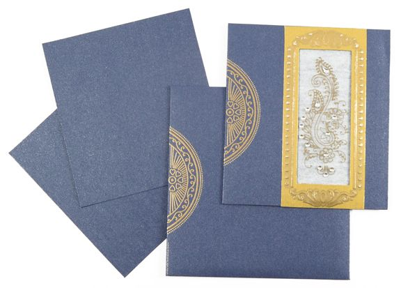 D 2629 Blue Color Shimmery Finish Paper Small Size Cards Light