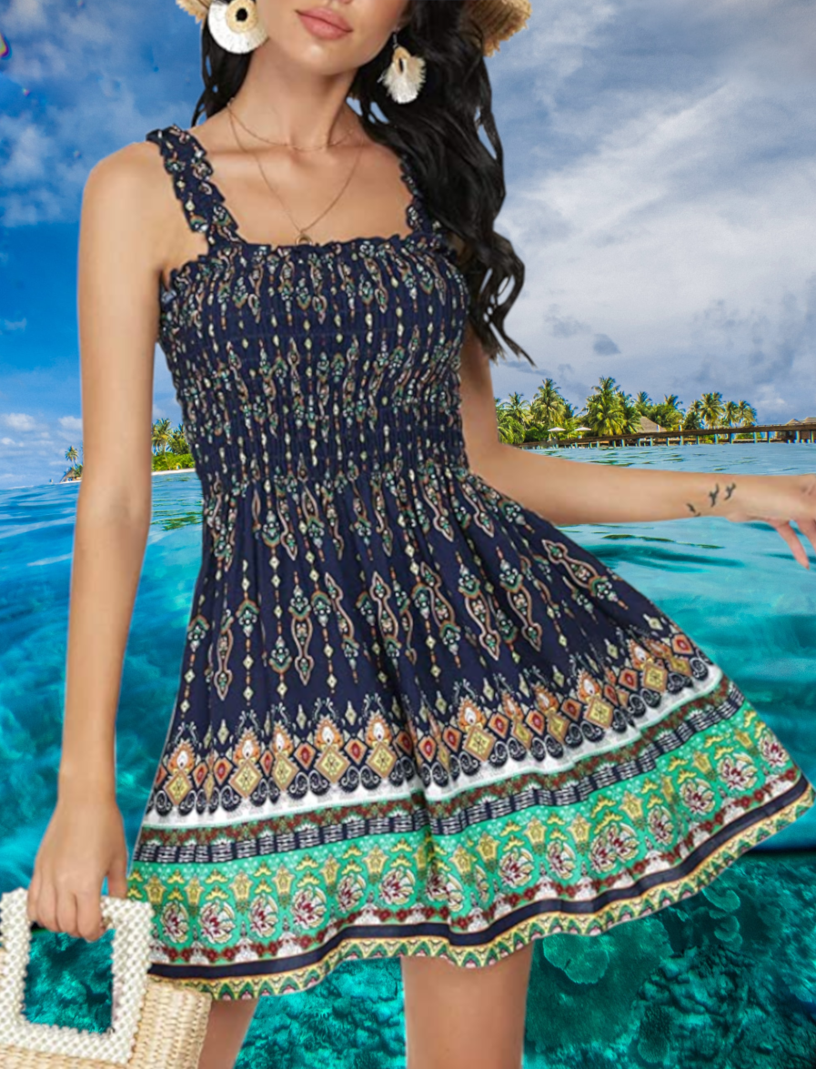 Summer Beach Dress Beach Mini Dress Ruffle Tube Top Smock Dress [ 1175 x 897 Pixel ]