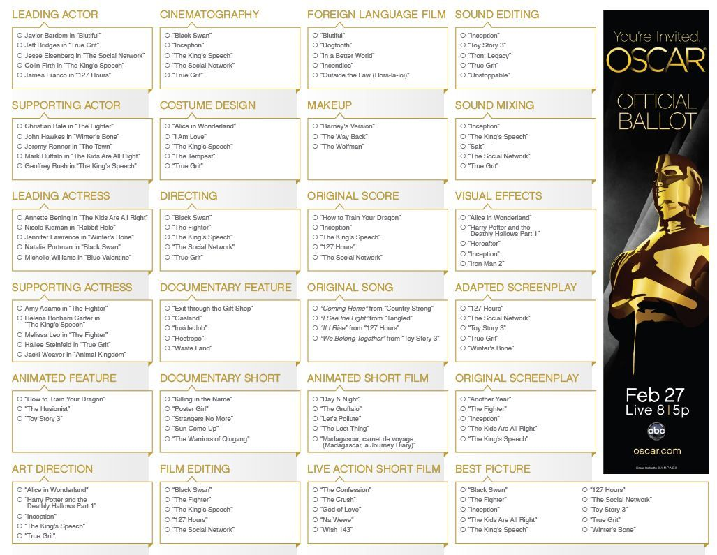 Host An Oscar Tv Viewing Party Free Printables