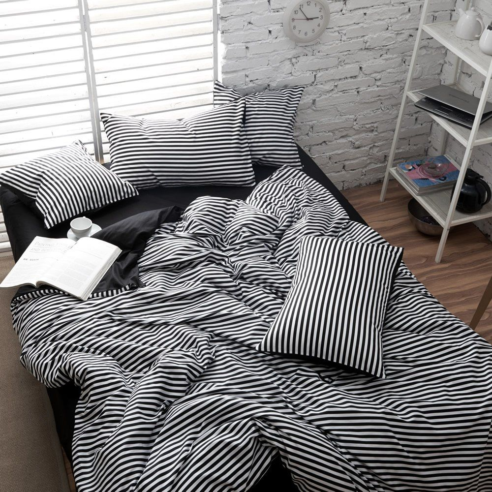 FADFAY Home Textile,Elegant Black And White Striped Bed Sets,Brand