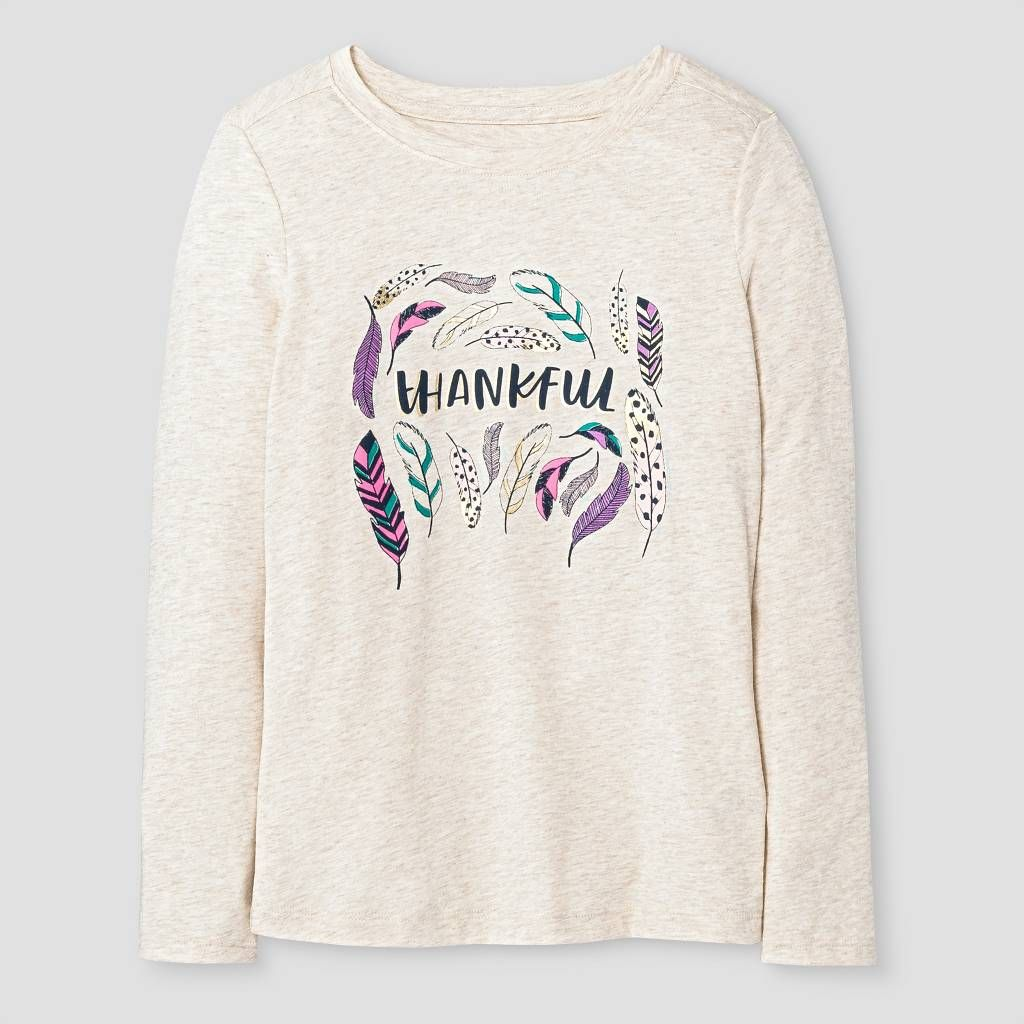 Girls Long Sleeve Thankful Graphic T Shirt Cat & Jack™ Oatmeal
