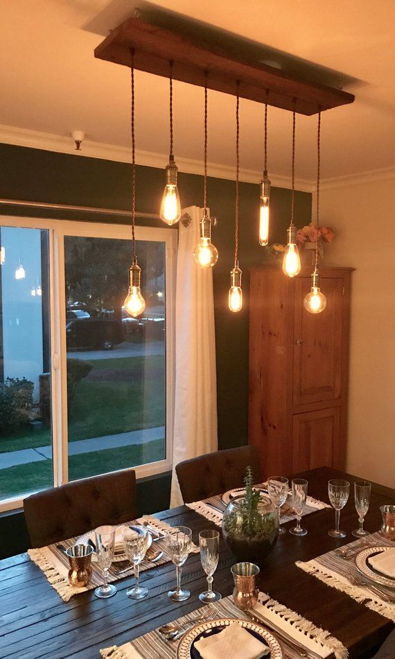 Dining Chandelier Rustic Modern 7 Pendant Lights Antique Edison Bulb Reclaimed Wood Rustic lighting Modern Dining chandelier #pendantlighting