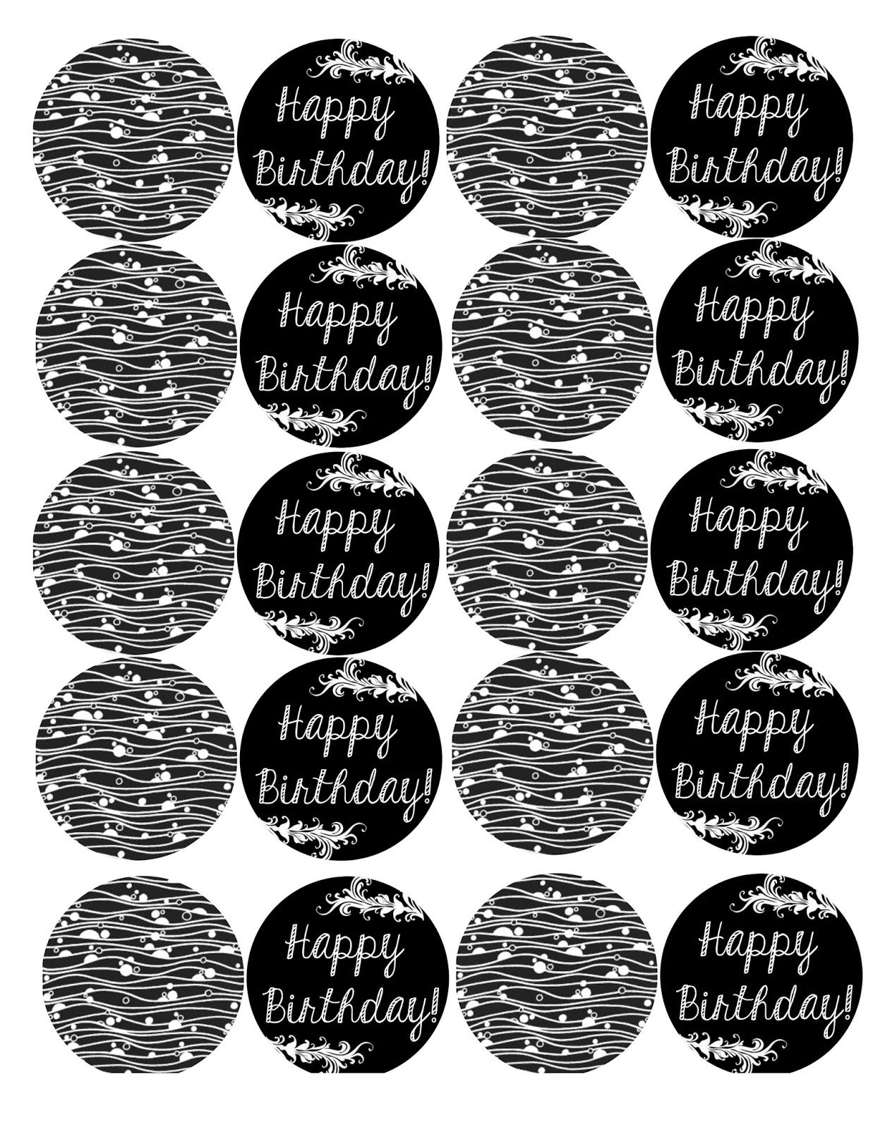 happy birthday cake topper printable black and white