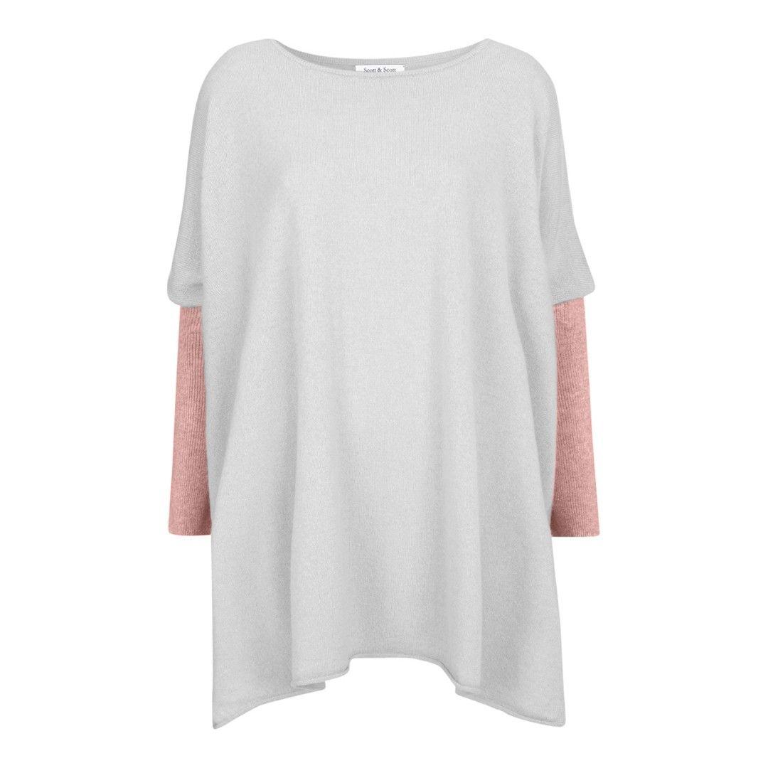 Light Grey/Pink Contrast Sleeve Cashmere Jumper