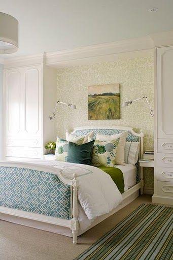 Turquoise + green bedroom