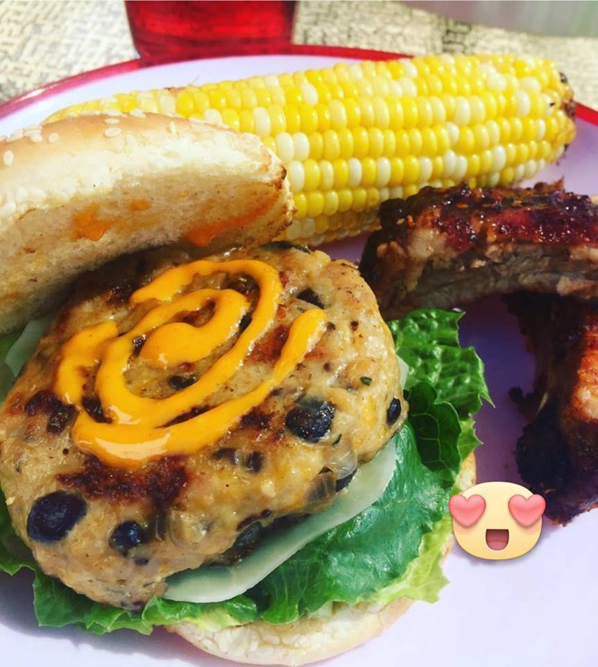 Chicken Black-bean Cheese Burger
