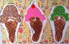 Ice Cream Foot Prints - kid's crafts -  Creative Wednesdays When you care for kids too young to do much of their own arts and crafts indepe - #crafts #Cream #Foot #Ice #Kids #kindercare #Prints
