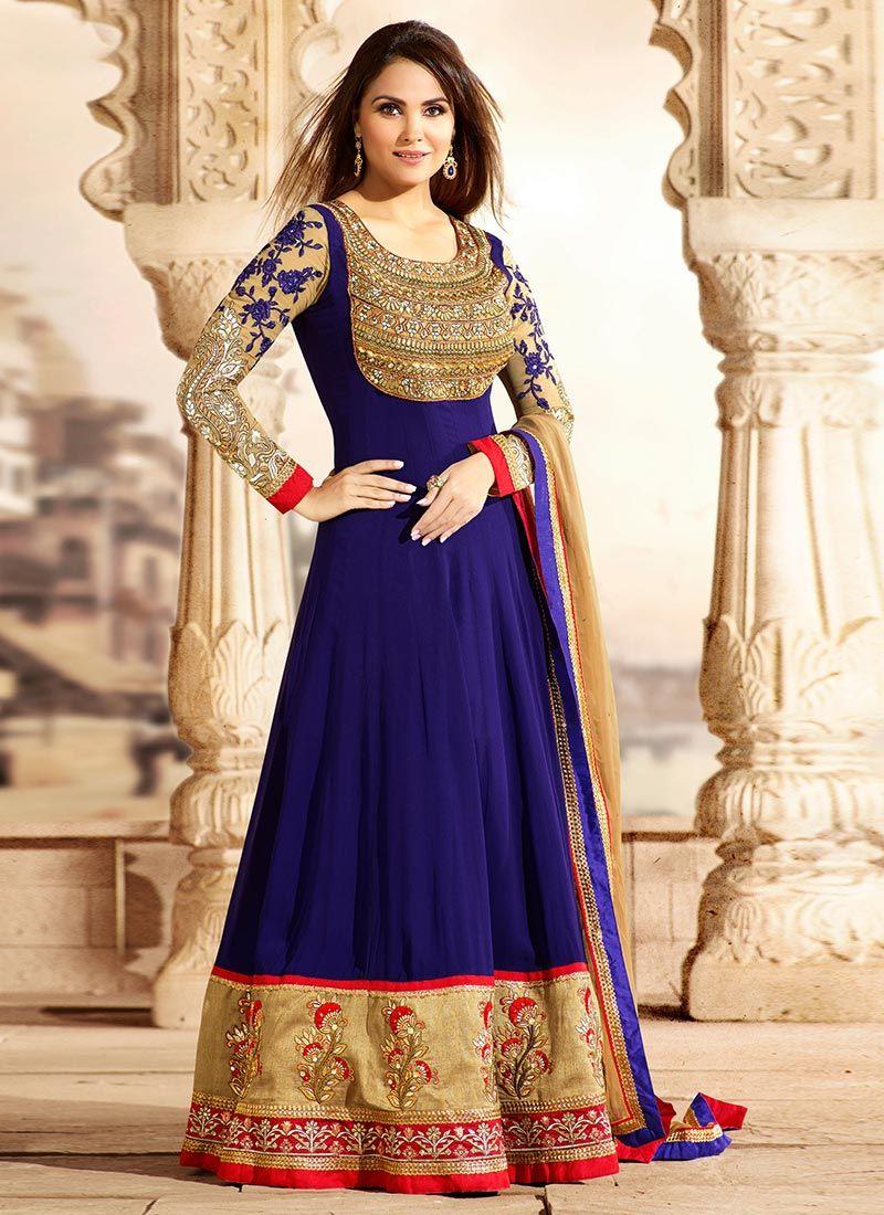 Vibrant #LaraDutta Blue Floor Length #Anarkali Suit   Ethnic ...