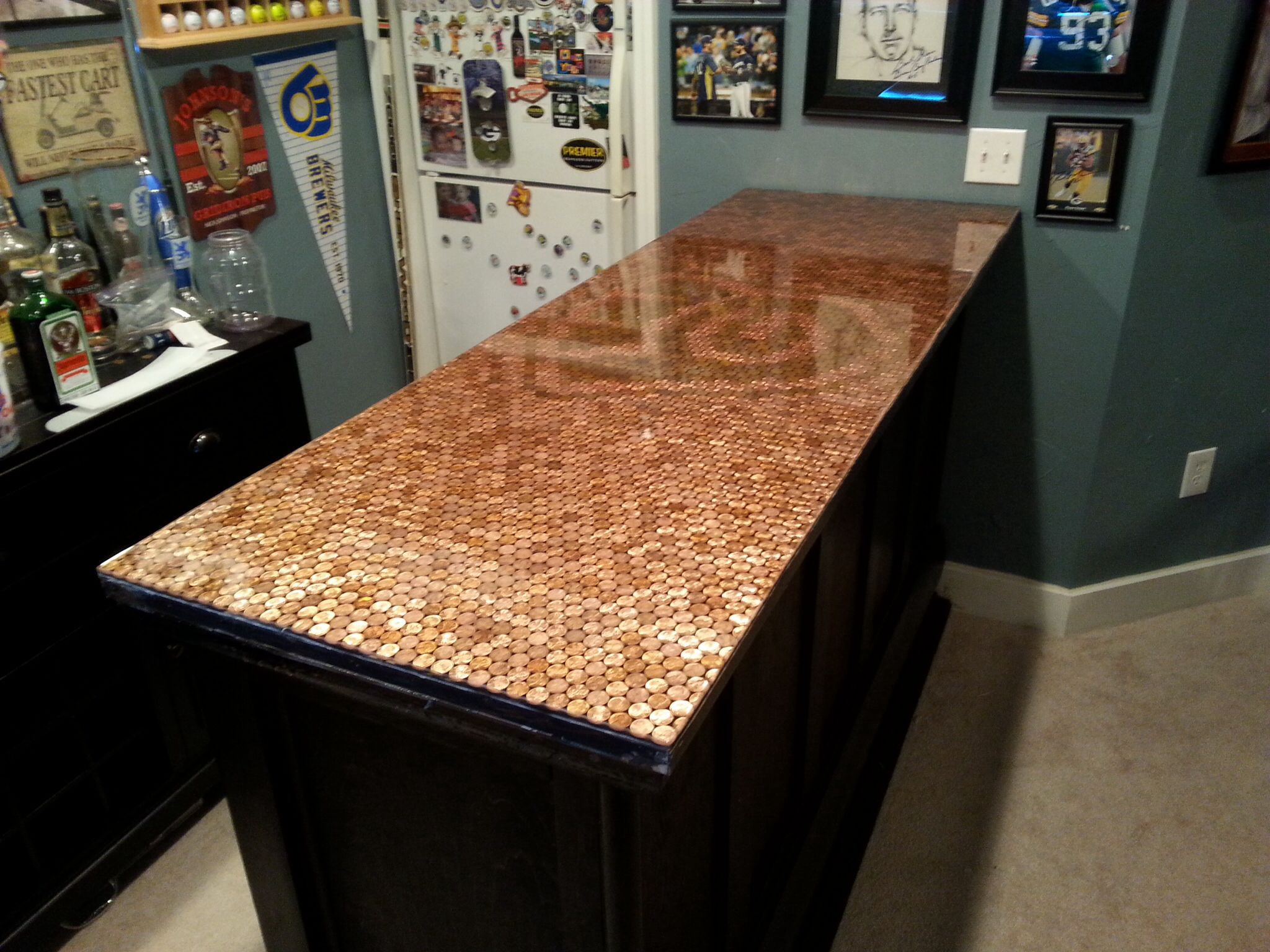 Ideas For Bar Tops, Bar Built Out Of An Old Door And Used Copper Pennyu0027s