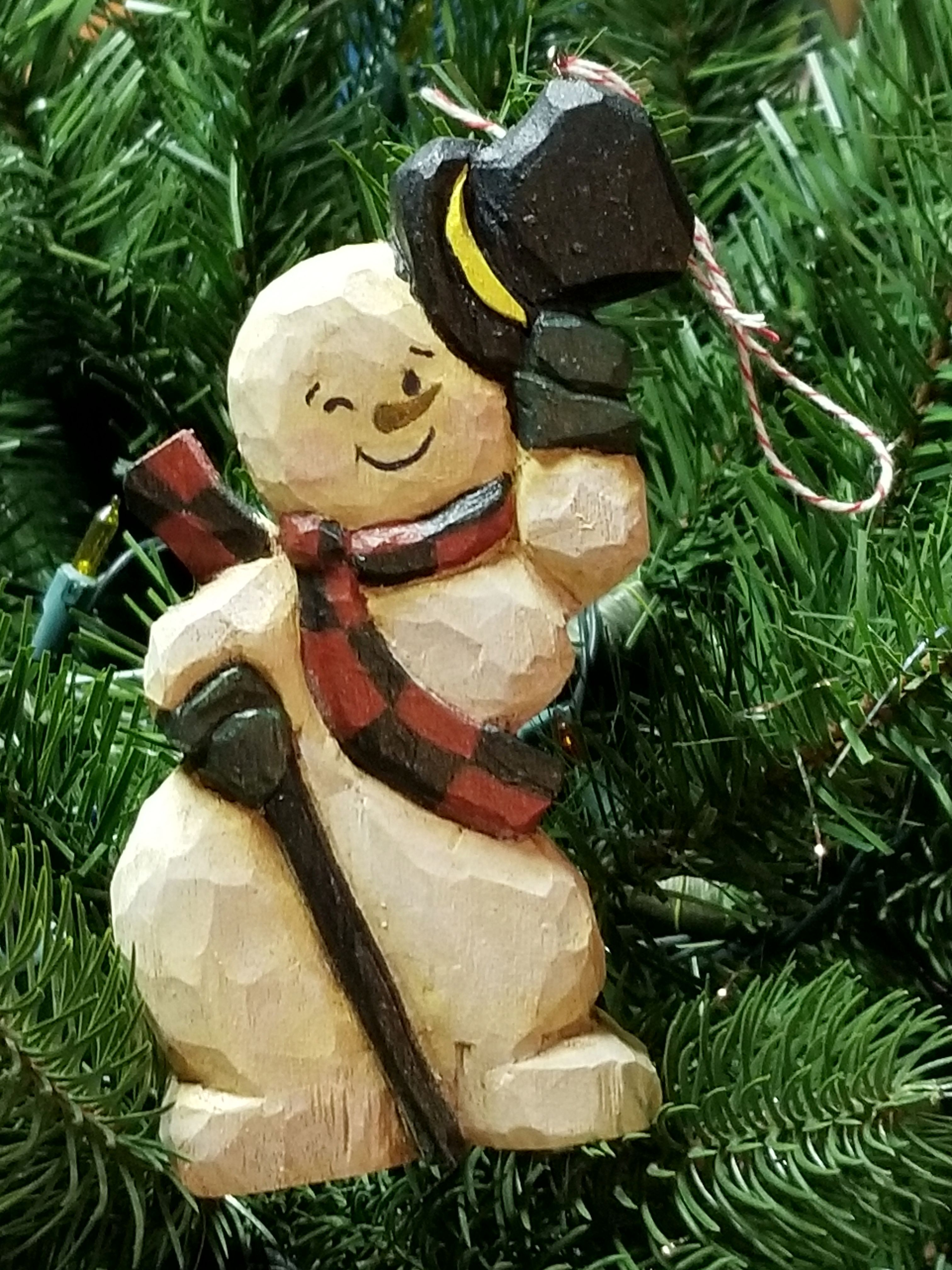 Hand Carved Snowman Ornament Adorable Available In My Etsy Shop Wood Christmas Ornaments Wood Carving Patterns Christmas Ornament Pattern