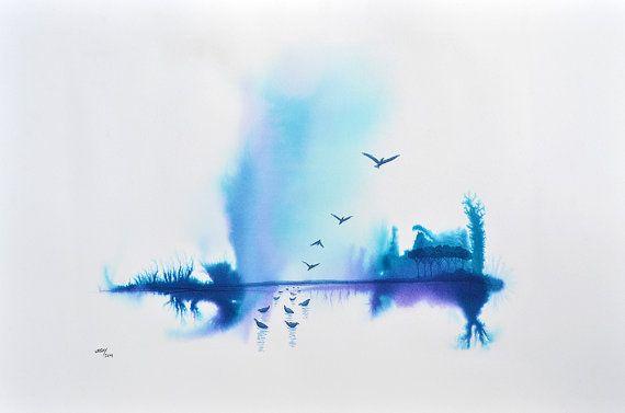Original Aquarell Blau Aquarell Aquarell Abgefahren Von Urbayart