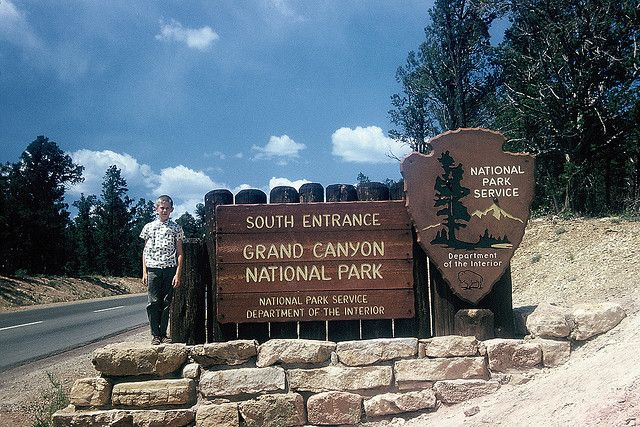 Me posing beside Grand Canyon National Park entrance sign, 1960 | Flickr - Photo Sharing!