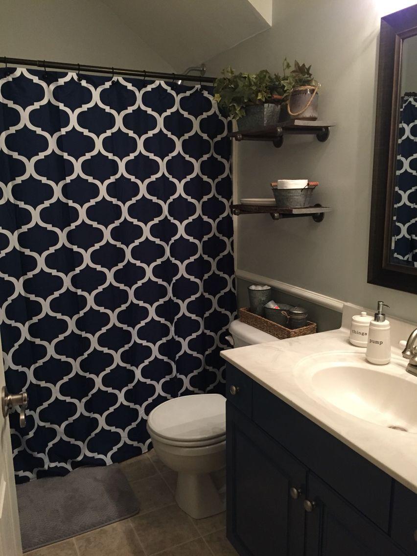 Boys Bathroom Remodel Industrial Decor Grey And Navy Navy Bathroom Decor Blue Bathroom Decor Bathroom Decor Apartment