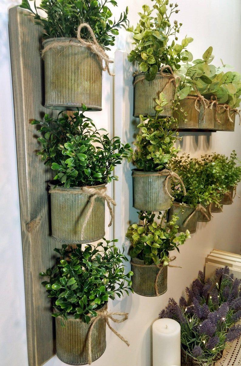 rustic wall decor zinc metal planters wall grouping on indoor herb garden diy apartments living walls id=18745