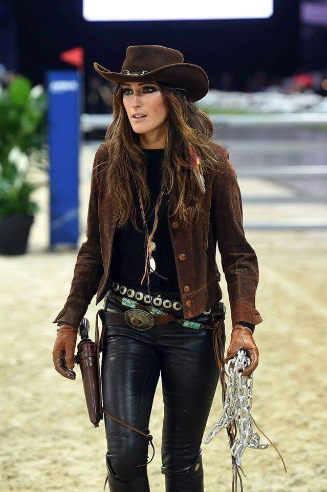 hot leathered cowgirl   other leather clothes and