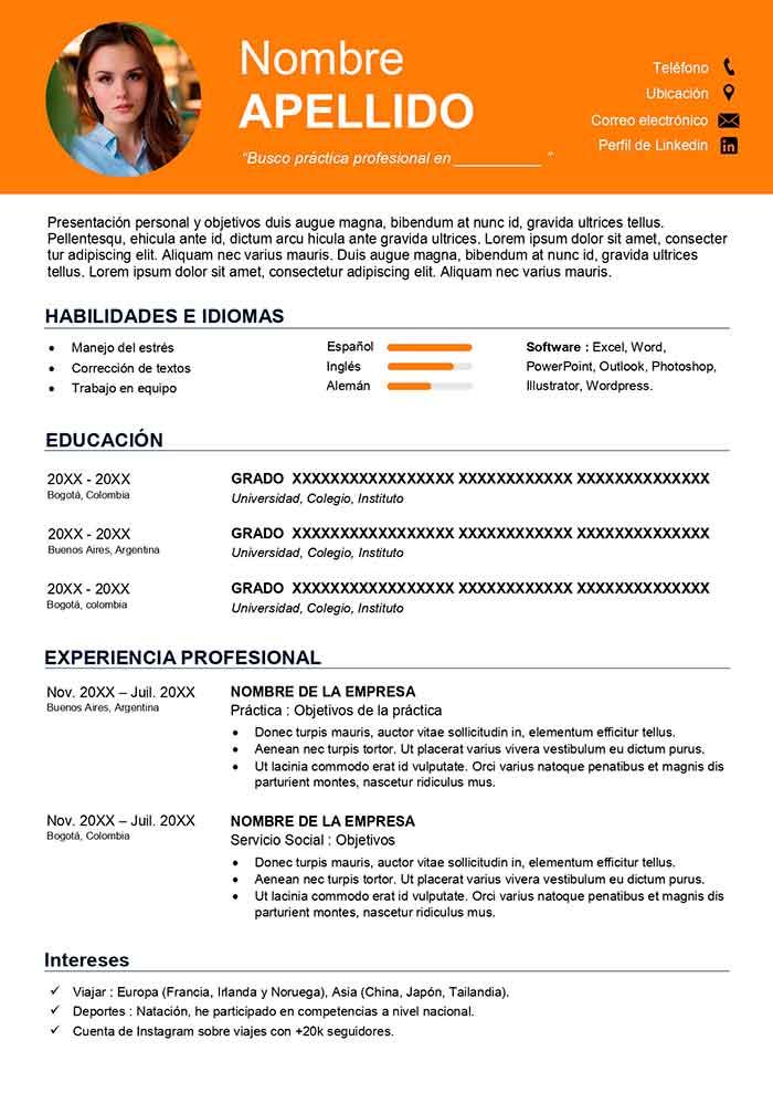 Plantilla De Curriculum Vitae Estudiante Cv Sin Experiencia Curriculum Vitae Cv Template Curriculum