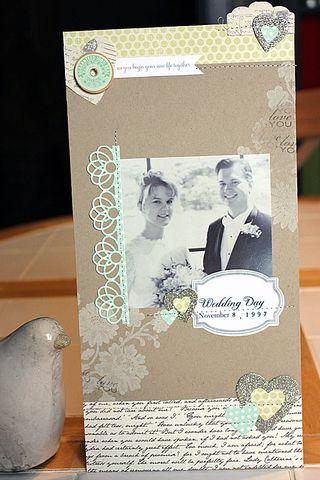 Gorgeous wedding scrapbook page by Heather Nichols.