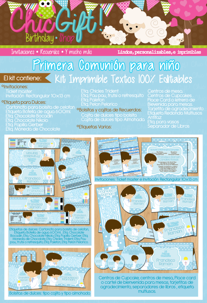 Kit Imprimible Primera Comunión Niño Textos Editables | Primera ...