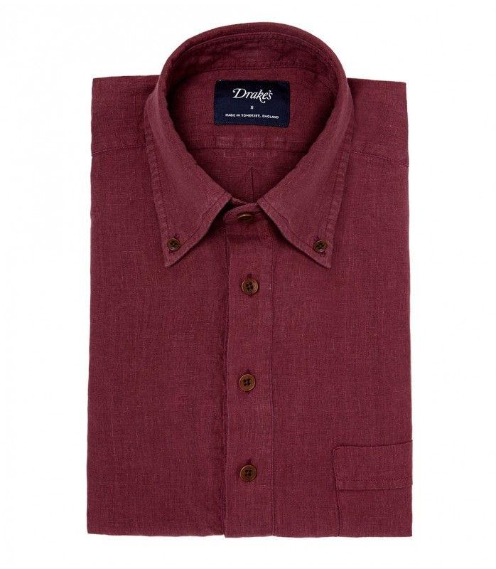 Button Down Burgundy Linen Popover Shirt