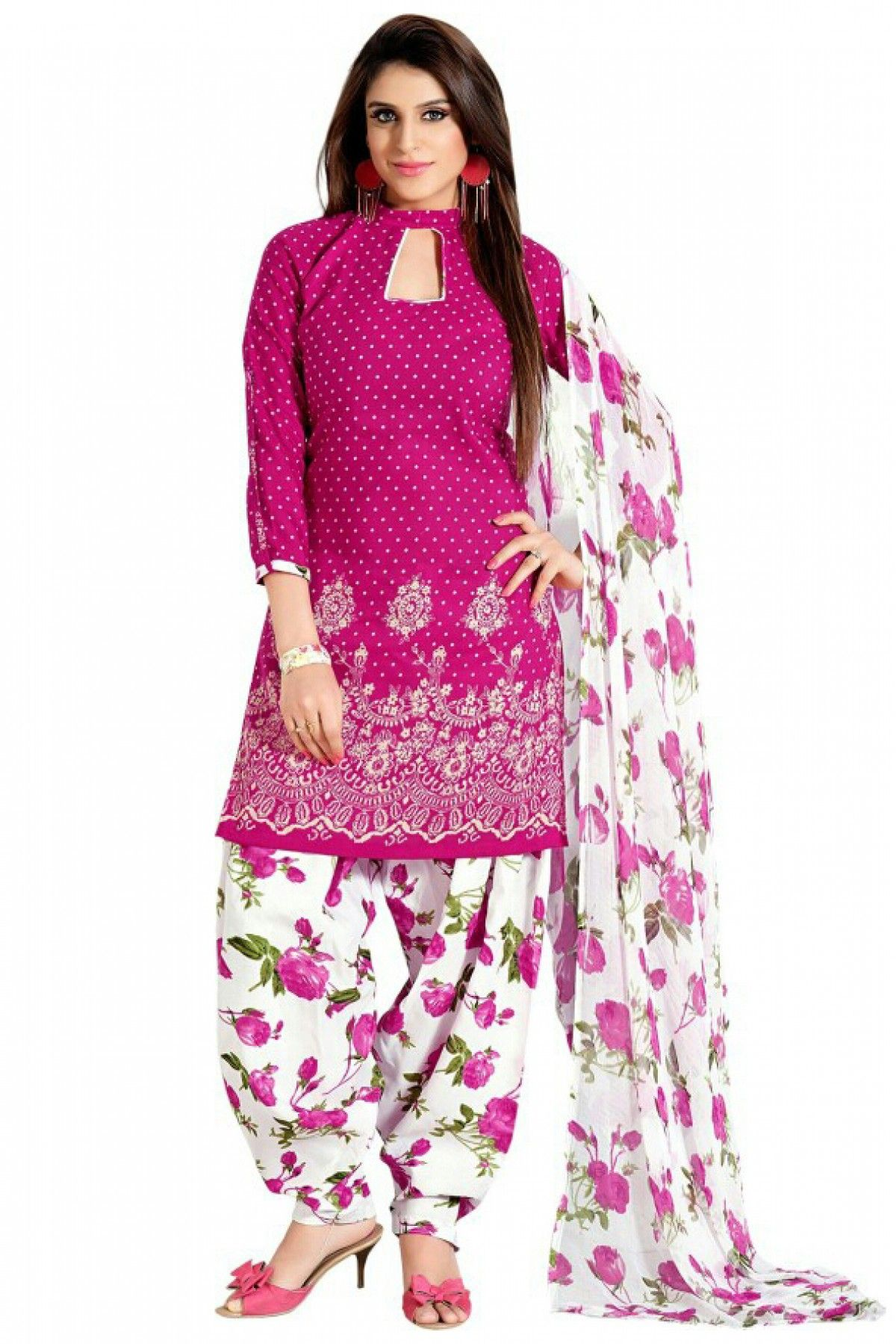 Cotton Party Wear Patiala Suit In Pink Colour It Comes With Matching Tta And Bottom Is Crfated Embroidery Lace Work Can Be Sched Upto 42