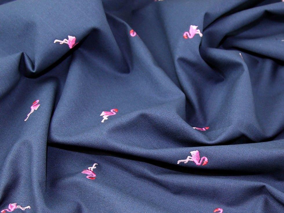 Flamingos Embroidered Linen Look Cotton Dress Fabric   Fabric   Dress Fabrics   Minerva Crafts